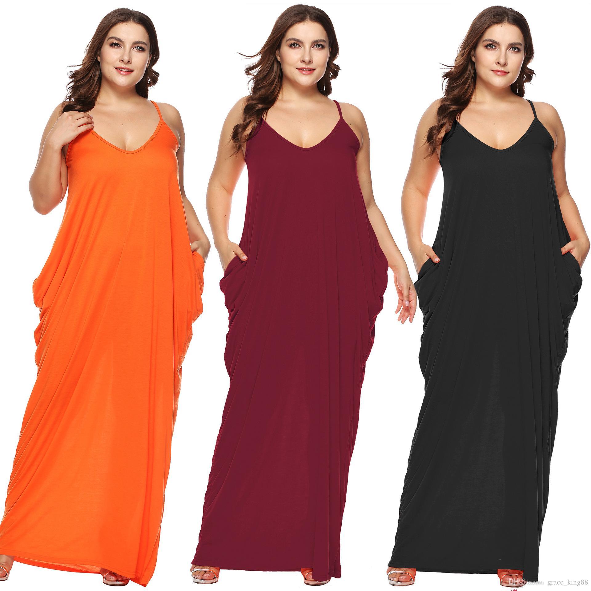 7ff1b019461e 2019New Women Casual Pocket Dress Sleeveless Comfortable Loose Plus Size  Clothes Asymmetrical Beach Maxi Dress XL 2XL 3XL Casual Pocket Dress Maxi  Dress ...
