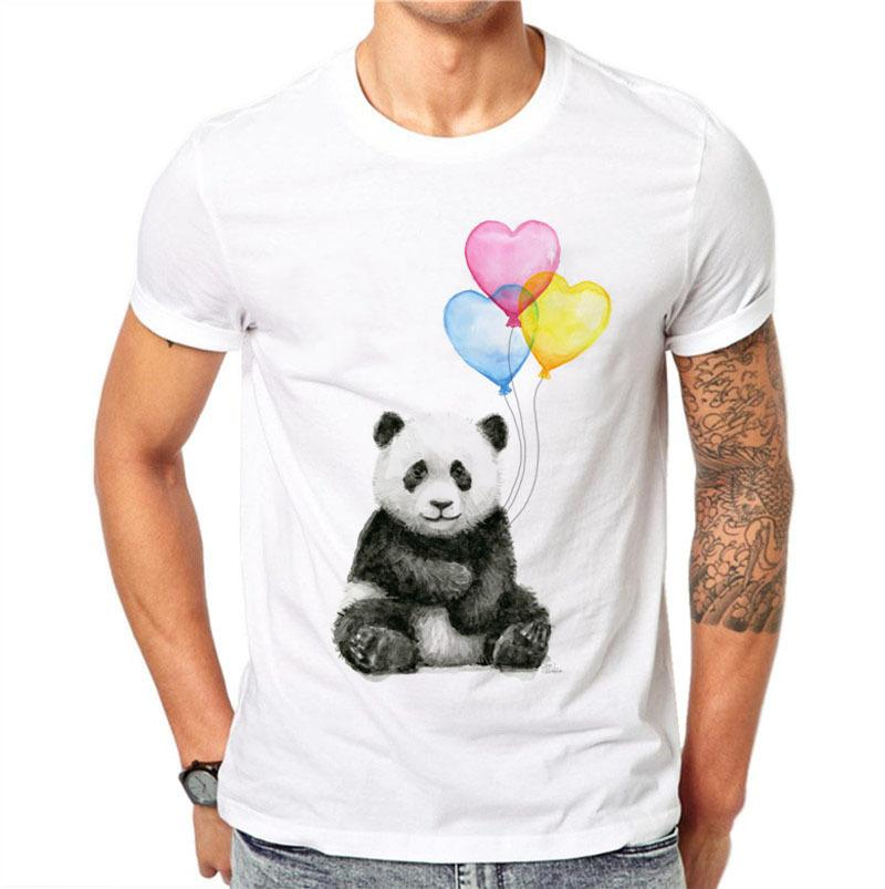 100% Cotton Men T Shirts Fashion Short Sleeve Casual Tee Tops Cute Kawaii Panda Printed T-shirt Heart Balloon White Plus Size