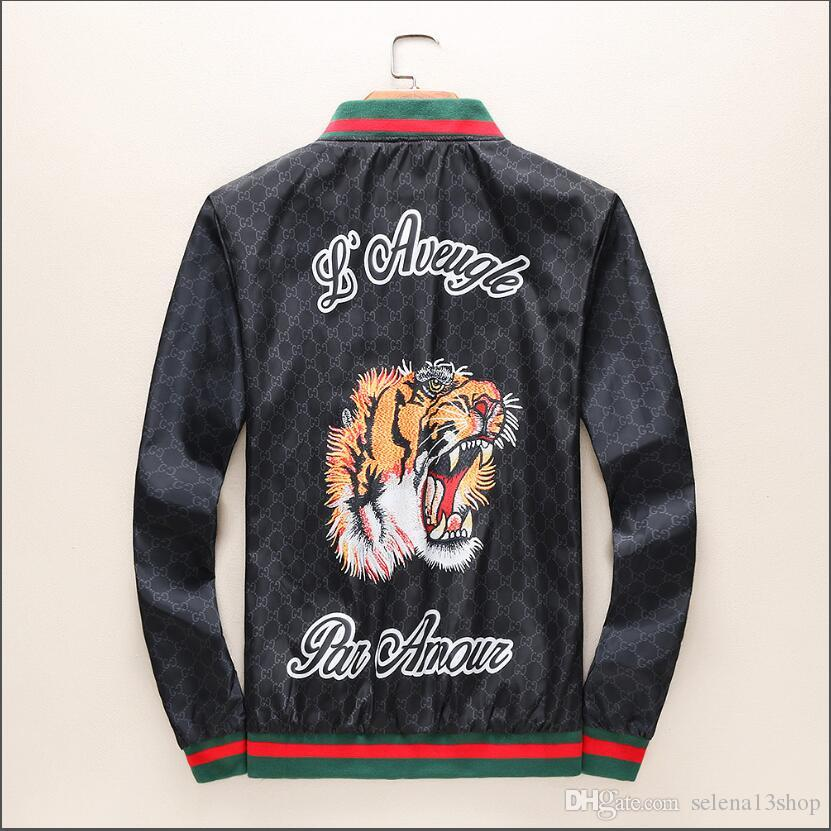 3D printed embroidery tiger Male Zipper Hood Outer Wear GUCCI With Bengal  Jacquared Jacket Elastic Cuffs Luxury Design Lightweight