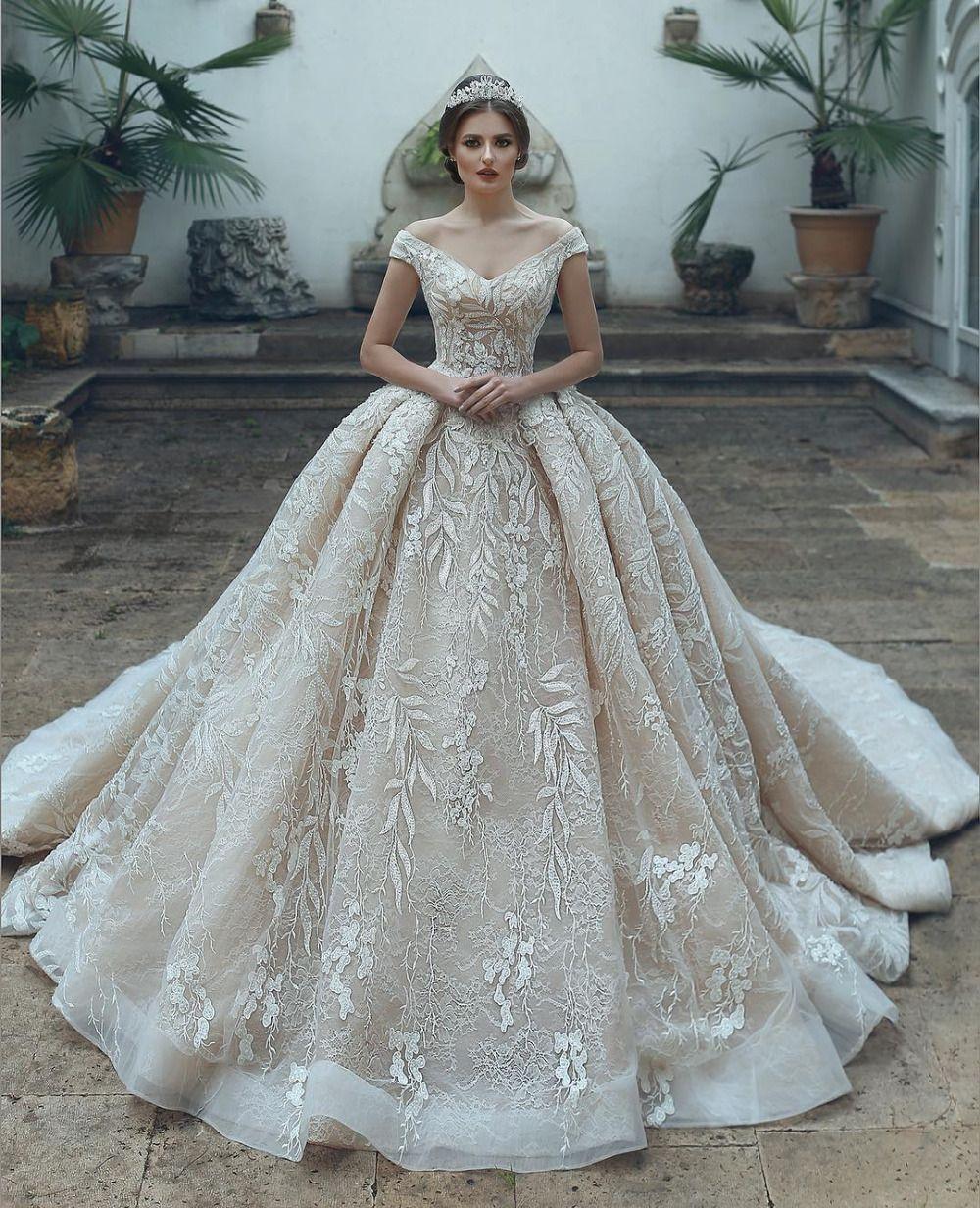 Big Wedding Ball Gowns: Luxurious Modern Full Lace Wedding Dresses 2019 Off