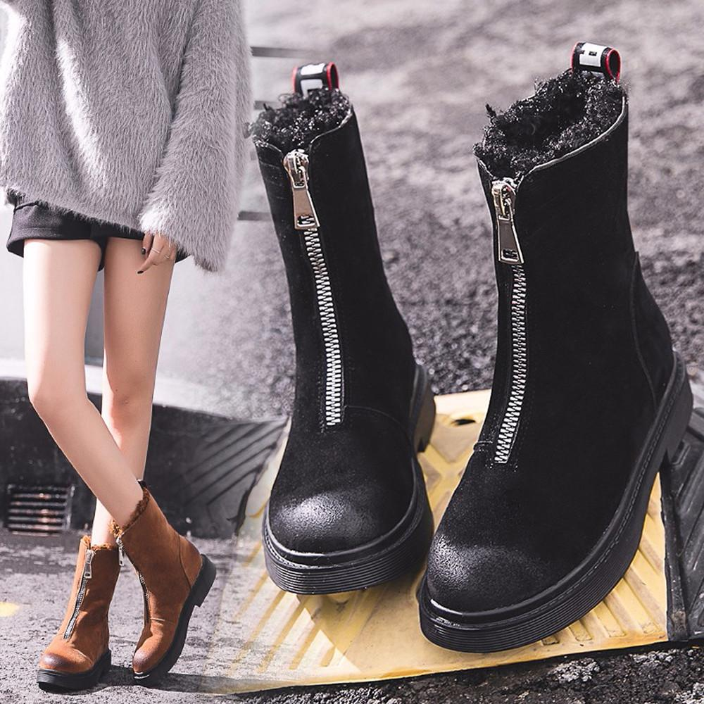 94cee01cf7e Women Shoes Winter Keep Warm Snow Boots Fashion Mid Calf Shoes Zip Flat  Cotton Boots Non Slip Boots Shoe Botines Mujer Pumps Shoes Shoe Boots From  Xinjiamei ...