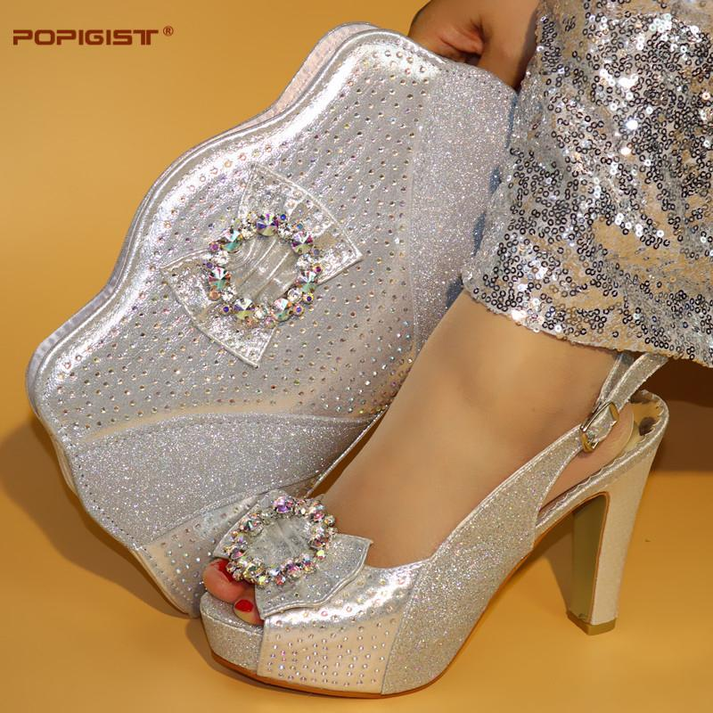 0b6146b4e550f Crystal Silver Color Matching Shoes And Bag Set With Rhinestone Italian  Shoes With Matching Bag For Women Bag And Shoe Set Italy Boat Shoes Shoes  For Men ...