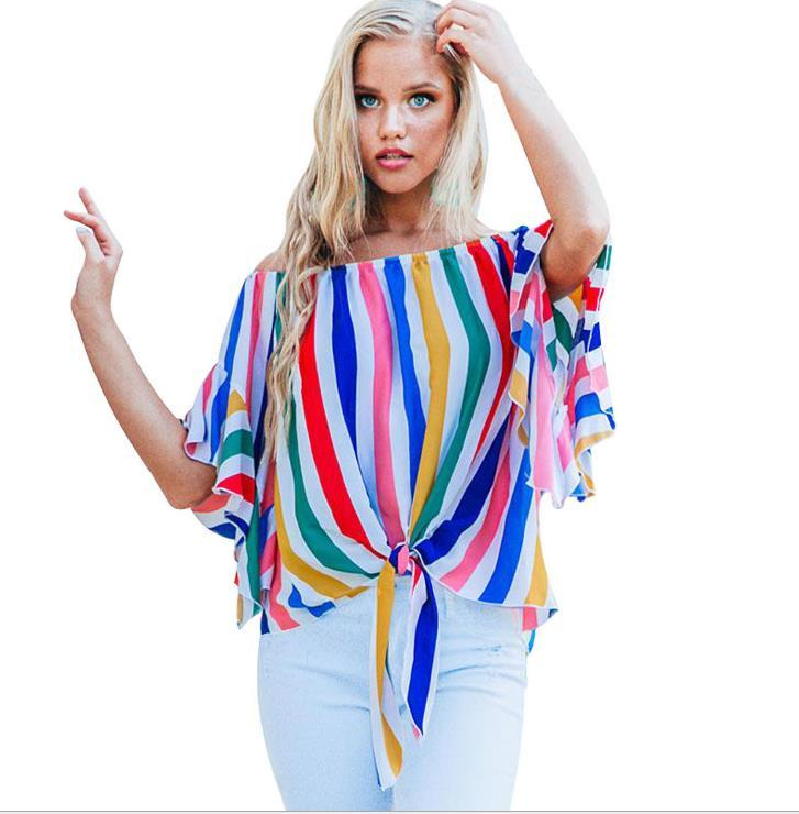 208381aac33cd2 Women S Summer Shirt Tube Top Fashion Style Collar Shirt Five Points  Trumpet Sleeve Striped Shirt Plus Size M 3XL Design Shirts Cool Tshirts  From Larch