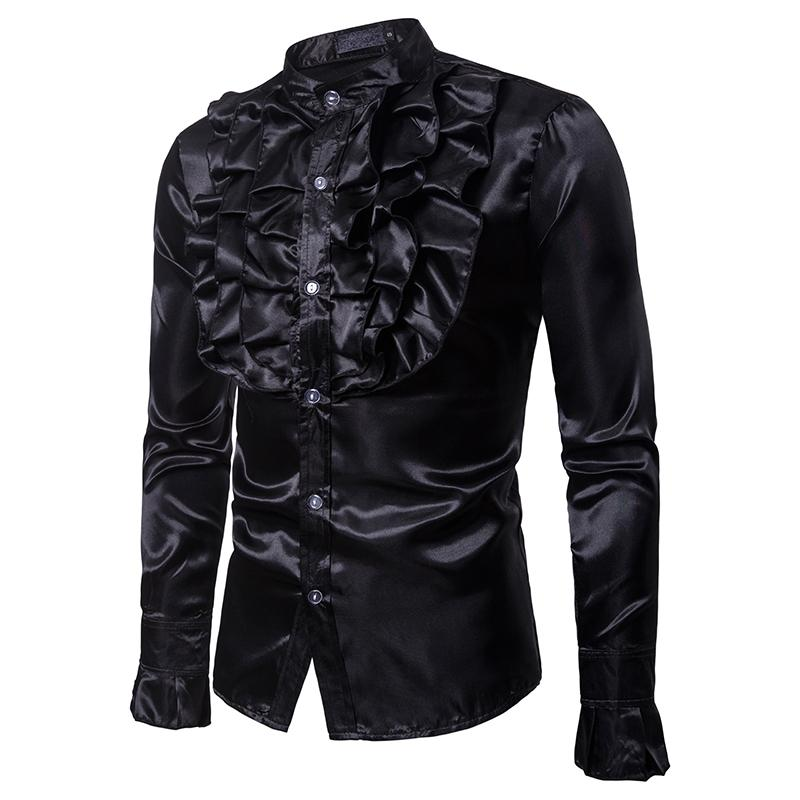 2019 Men's Suit Shirts Long Sleeve Formal Dress Shirt Gentlemanly Party Outwear Slim Tuxedo Top Fashion Mens Clothes