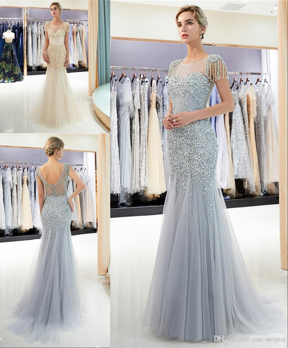 472f32896246 2019 New Mermaid Evening Dresses Striking Capped Tassel Major Pearls Beaded  Sheer Jewel Neckline Crystals Prom Gowns CPS1161 Wholesale Prom Dresses  Amazing ...