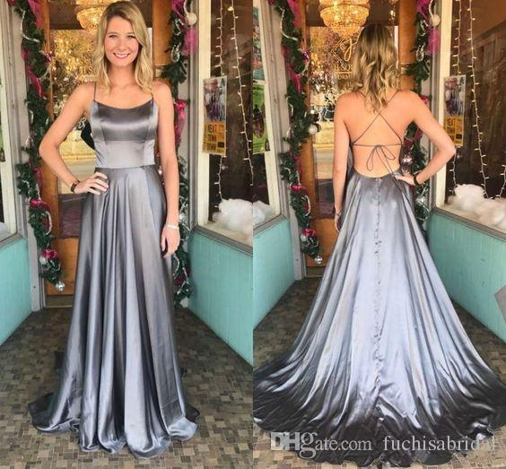 Scoop Neck Simple Grey Satin Prom Dresses with String Tie Back Sleeveless Backless Prom Gowns with Short Train Sexy Evening Gowns