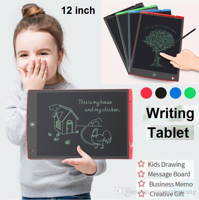 2019 NEW LCD الكتابة وحي 12 بوصة مذكرة الرقمية مجلس سبورة الكتابة اليدوية وسادات مع القلم ورفع مستواها للبالغين مكتب أطفال رسم TOP أفضل