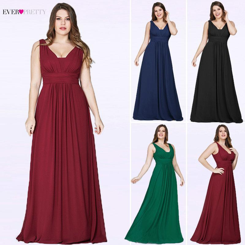 75f27345f4 2019 Ever Pretty Plus Size Evening Dresses New Arrival Elegant V Neck  Chiffon Navy Blue A Line Long Party Gowns For Wedding Guest Y19042701 From  Huang03