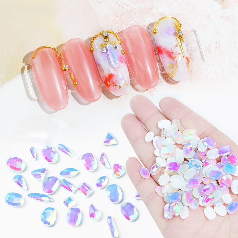 Crystal AB Rhinestones for Nail 16 Different Flat Back Glass Stones Gems Nail Diamond Beads 3D Nail Art Craft DIY 160 Pieces