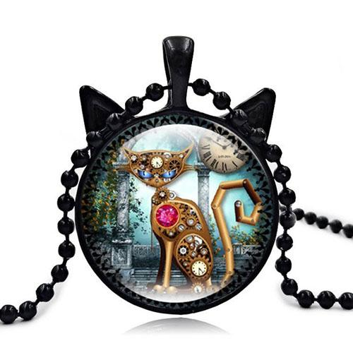 Punk Mechanical Cat Red Gem Heart Long Necklace Round Wheel Gear Glass Photo Cabochon Ears Shaped Pendant Choker Necklace