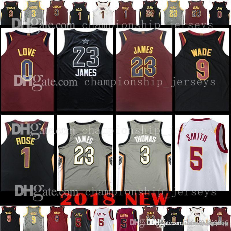size 40 bdfb6 c878d 2018 NEW 23 LeBron James 0 Kevin Love 5 JR Smith Jersey 3 Isiah Thomas  Derrick Rose Basketball Jerseys aLL sTAR Cleveland