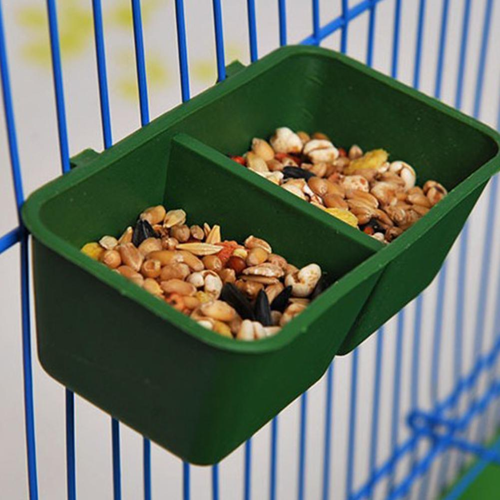 6pcs Bird Feeder Food Bowl Double Compartment Plastic Crib Parrot Hamster  Food Water Bowl Cups Birds Feeding Bowl Basin Sand Cup