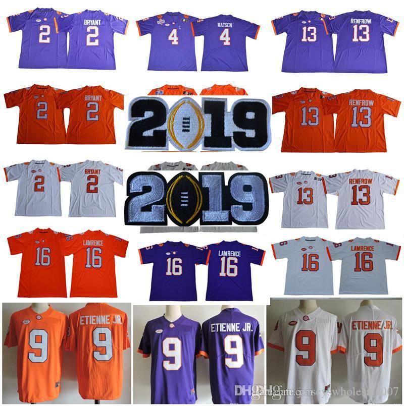 NCAA Clemson Tigers 16 Trevor Lawrence 9 Travis Etienne Jr. 4 Deshaun  Watson 13 Hunter Renfrow 2 Kelly Bryant Stitched College Jerseys UK 2019  From ... c9c3dad5f