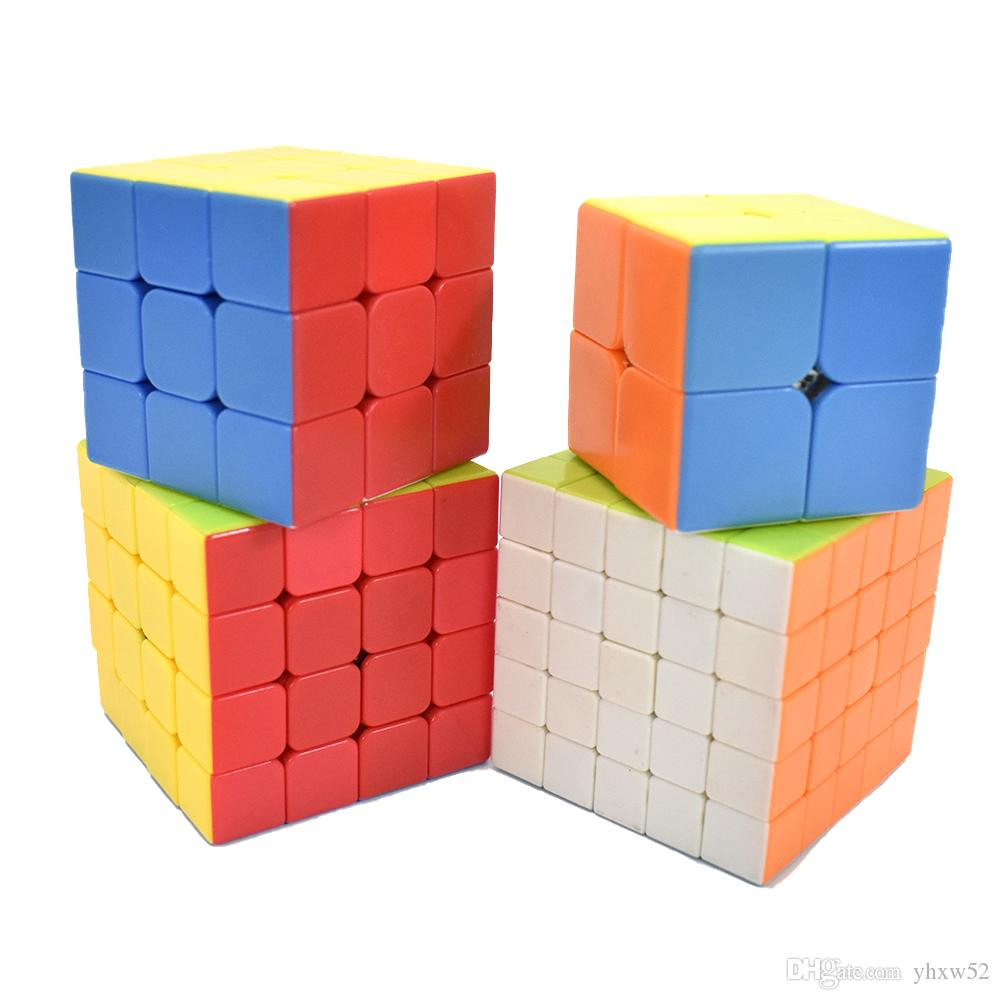 speed Cube Bundle 2x2 3x3 4x4 5x5 Magic Cube Set, Stickerless Speed Cube Brain Teaser Puzzle Toys for Kids Adults with Gift Box (4 Pack)