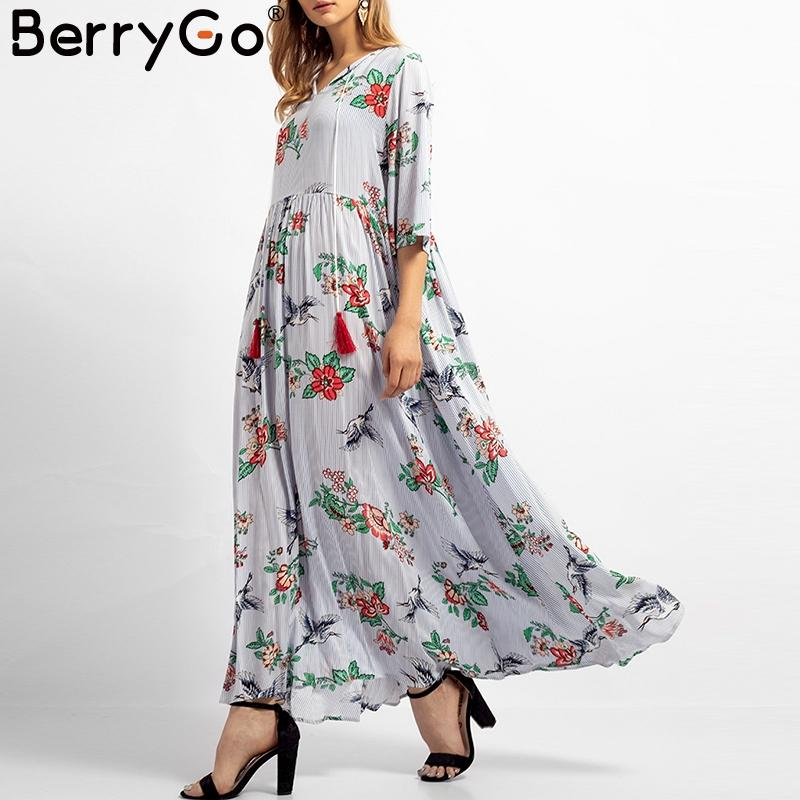 5cca96e16c2d BerryGo Vintage Floral Print Cotton Dress Women Summer Tassel Lace Up Maxi Dresses  Plus Size Casual Beach Female Long Vestidos Cocktail Dress Party Cute ...