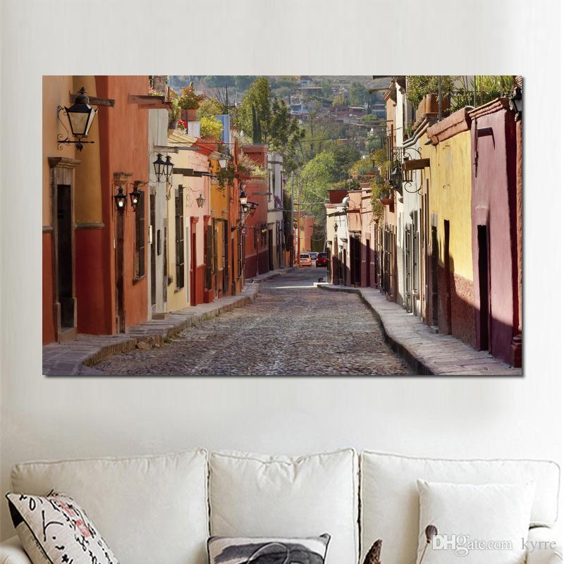 street wires torches road Canvas Arts Pictures Wall Pictures printed on canvas
