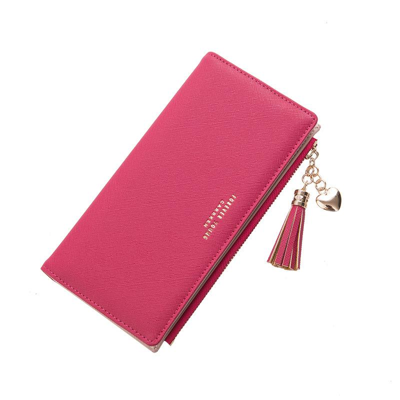 75900d807e44 Student's Cute Pink Long Money Clips for Girls with Tassel Decoration Solid  Red/Black Women Wallets Made by PU Leather