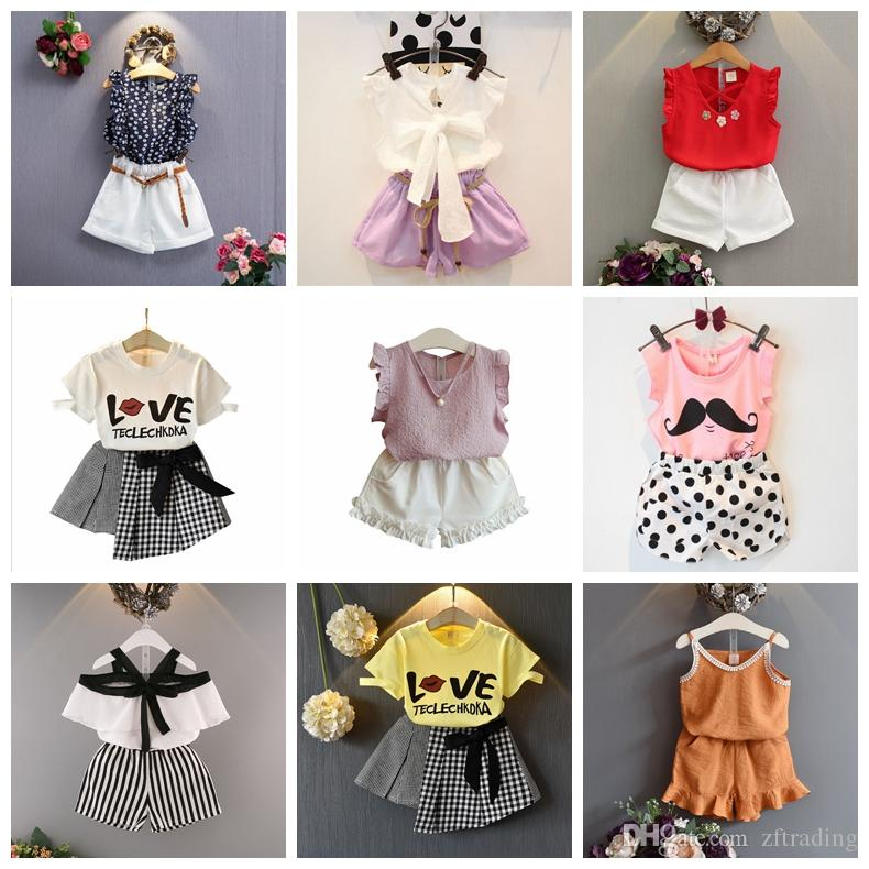 13de06365db3 2019 21 Design Baby Girls Summer Outfits T Shirt Top+Shorts Skirts ...