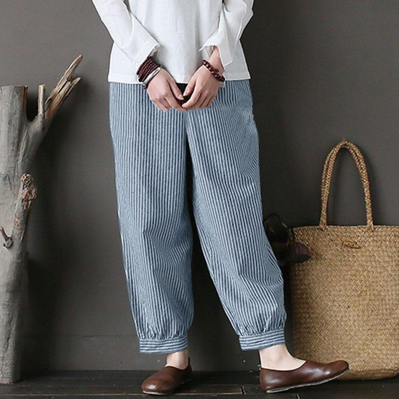 790bcd5635de2 2019 Plus Size Zanzea Women Elastic Waist Cotton Linen Loose Retro Striped  Pantalon Turnip Long Harem Pants Casual Pockets Trousers From Derrick83