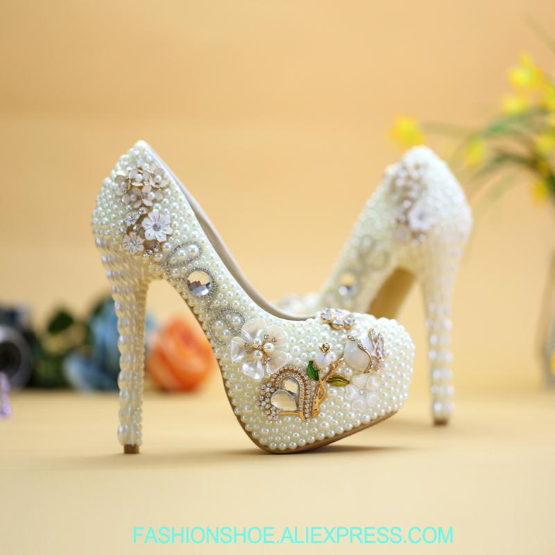 Women Pumps White Pearl Shoes For Wedding Dress Crystal Flower Luxury  Design Bride Party 14cm High Heels TV Model Showing Boots For Men Wedge  Shoes From ... 98ac069289c4