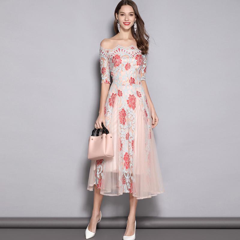 0117a9dc3ff63 2019 Women s Runway Designer Dresses Slash Neckline Embroidery Lace Elegant  Floral Mid Calf Dresses