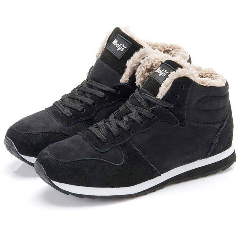 Winter Boots Men Shoes Fashion Warm Fur Flock Male Plus Size Botas Hombre Tennis Sneakers Winter Ankle Boots Men Winter Shoes Men's Shoes