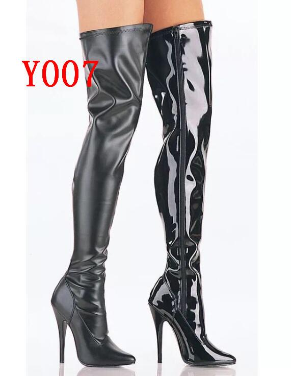 ea83363b0ad2 Rihana 2019 Fashion Women Black Patent Leather Long Boots Winter Autumn  Pointed Toe Over The Knee High Heel Crotch Boots Shoes Ankle Booties Combat  Boots ...