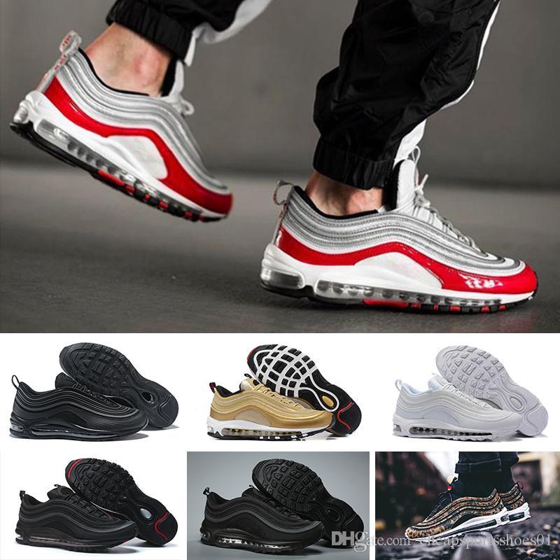 NIKE max 97 Los más nuevos hombres de la marca Low 97 OG Cojín transpirable masaje barato Correr zapatillas de deporte planas Hombres 97 Deportes