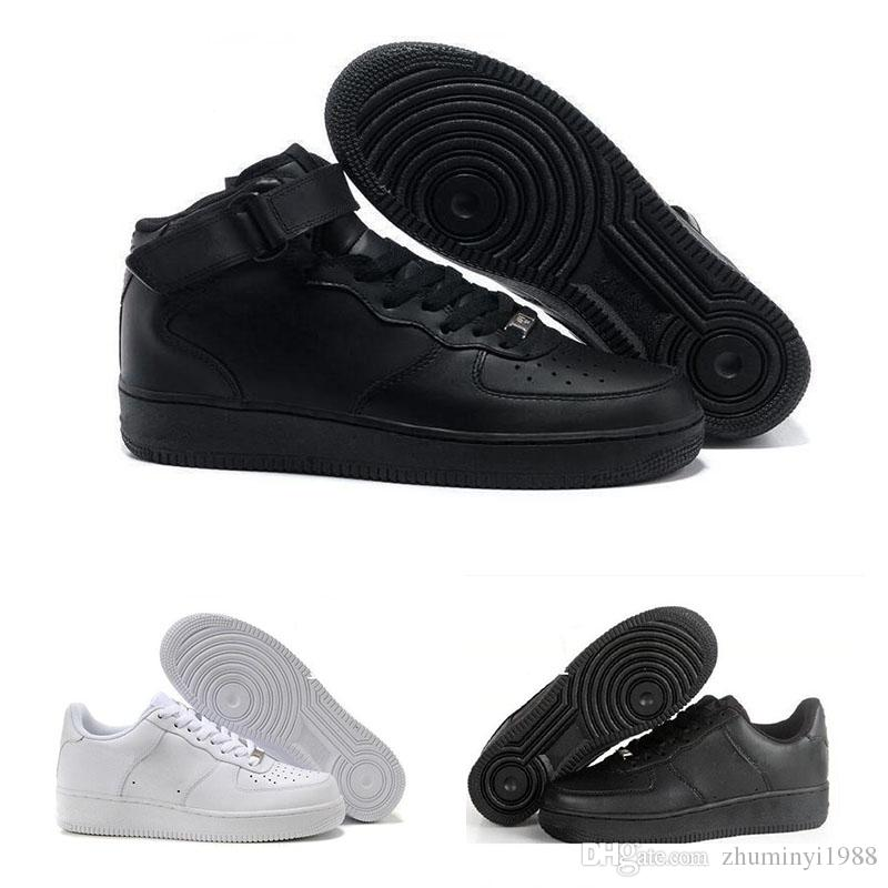 separation shoes f217a 4e1dd Großhandel 2018 Nike Air Force 1 Leather AF1 Hochwertige Mode Forcing KORK  Mens Women One 1 Laufschuhe Hoch Low Cut Alle Weiß Schwarz Braun Farbe  Casual ...