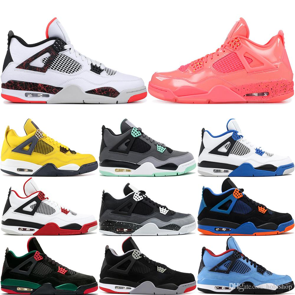 new product eb971 961bf 2019 4 Men Basketball Shoes Black White Pizzeria Cement Black Cat Pale  Citron Pure Money Royalty University Red 4S Sports Sneakers US 8 13 From  Holdshop, ...