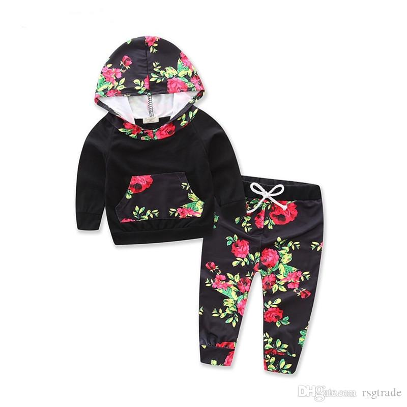 INS New Designs Infant Baby Girls Floral Hoodies Suits Flower Patchwork Hooded Tops With Straps Elastic Pants 2pieces Children Clothing Set