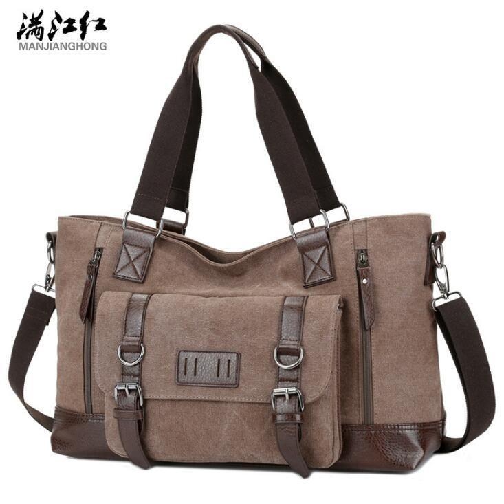 44b8978e4122 Outlet Brand Men Handbag Multi-functional Leather with Canvas Shoulder Bag  Fashion Belt Decoration Messenger Bag Outdoor Large Canvas Cas Canvas  Casual Bag ...