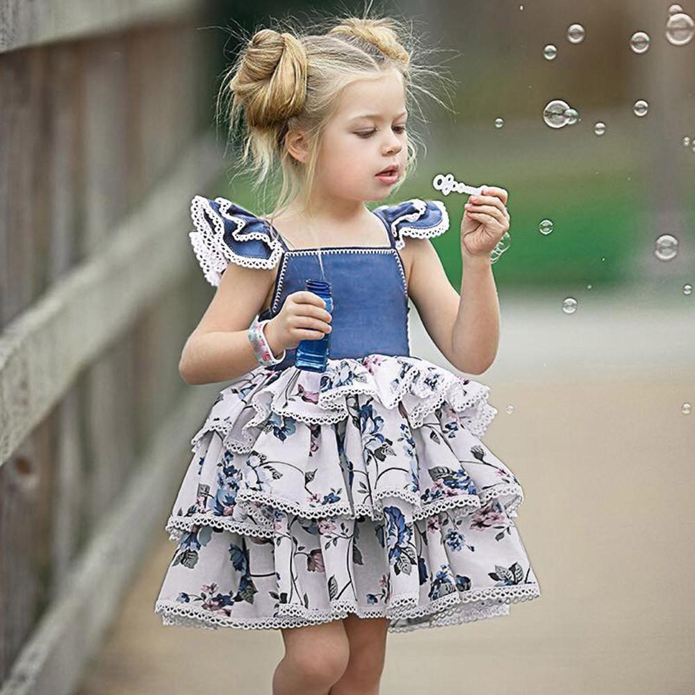 c0f455355d8d02 Vêtements pour enfants de bonne qualité pour les filles sans manches Denim  Ruffles Dress Floral Outfit Sundress Vêtements Vêtements bébé ...