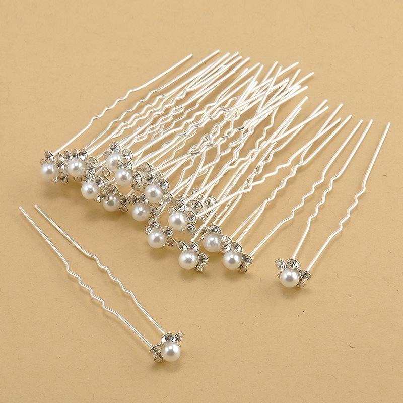 Lady Retro Pearl Hairpin Fashion Girl Flower Diamond Hair Sticks Clips Headwear Crystal Diamante Pearl Flower Hair Pins TTA797