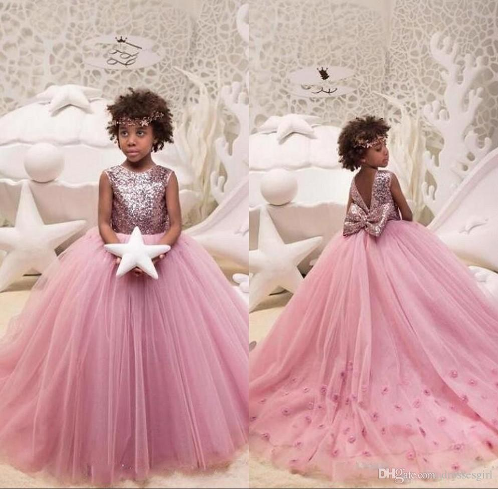 Lovely Sequined Flower Girl Dresses Puffy Tulle Kids Pageant Dresses with  Big Bow Kids Formal Wear BC2129