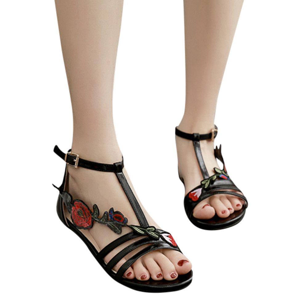 Chaussures Casual PlataformW35 Rose Mujer Sandals Sandales Plat Mode 2019 Romain Youyedian Femmes Embroiderysandalias Floral 3LR54Aj