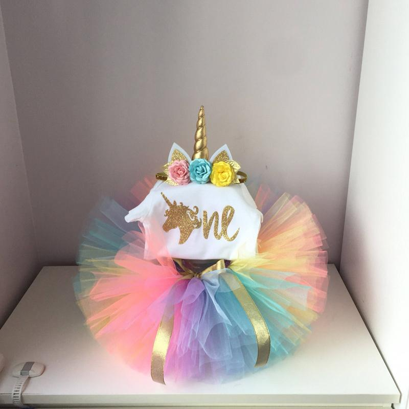 735cf843e021b It's My Baby Girl Unicorn Party 1st First Birthday Set top Colorful Tutu  Princess Girl Cake Smash Outfits Infant Dress Sets 12M Y190515