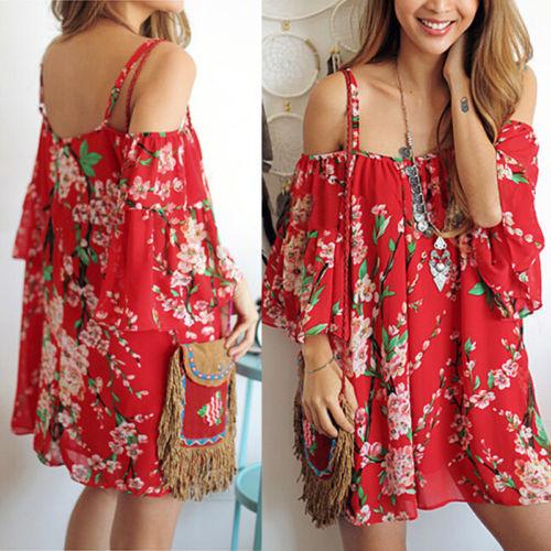 2019 New Women Sexy Off Shoulder Beach Mini Dress Printing Flower Chiffon Summer Batwing Loose Dresses Fashoin Girl Red Clothing