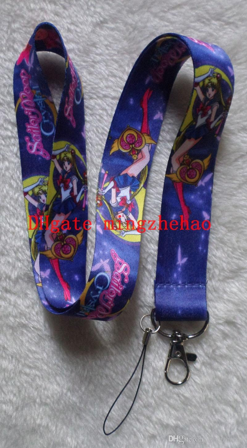 30 pcs Cartoon Japanese anime Sailor Moon Cell Phone Neck Lanyard Key  Chains Gifts Party Favors