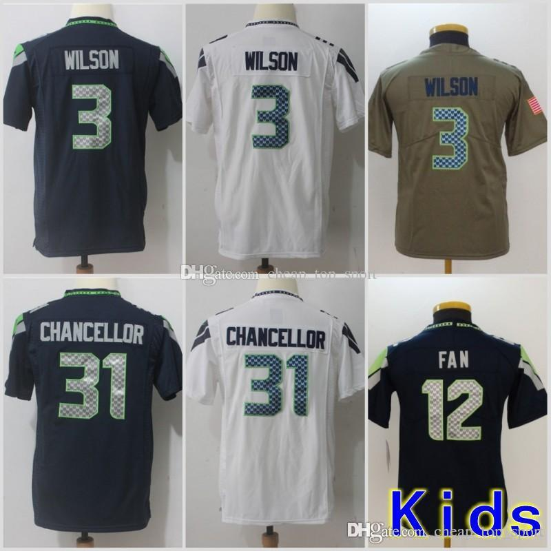 new york 6defd 62e51 Youth Seattle Jerseys 3 Russell Wilson Seahawks 12th Fan 31 Kam Chancellor  Salute to Service Limited Stitched Kids Size S-XL