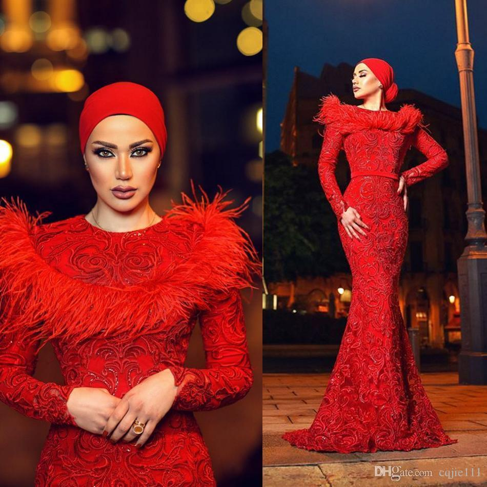 Zuhair Murad Red Evening Gowns Jewel Neck Long Sleeves Mermaid prom dresses 2019 New Beaded Appliqued arabic dress Plus Size