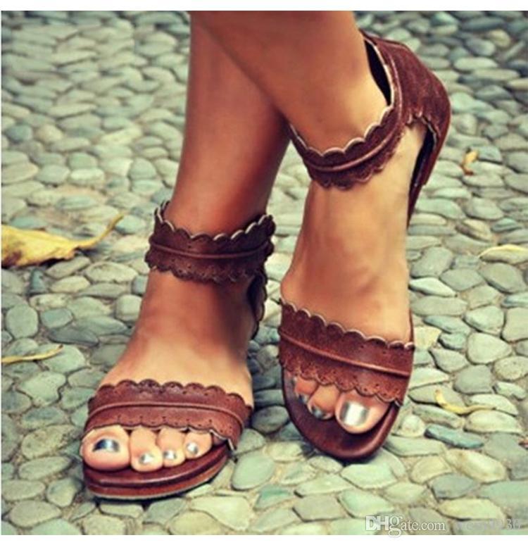 Mode Neue Sommer Frauen Flache Sandalen Damen Casual Leder Offene Spitze Schuhe Weibliche Flip-flops Römischen Strand Schuhe Große Größe 35-43 Schuhe