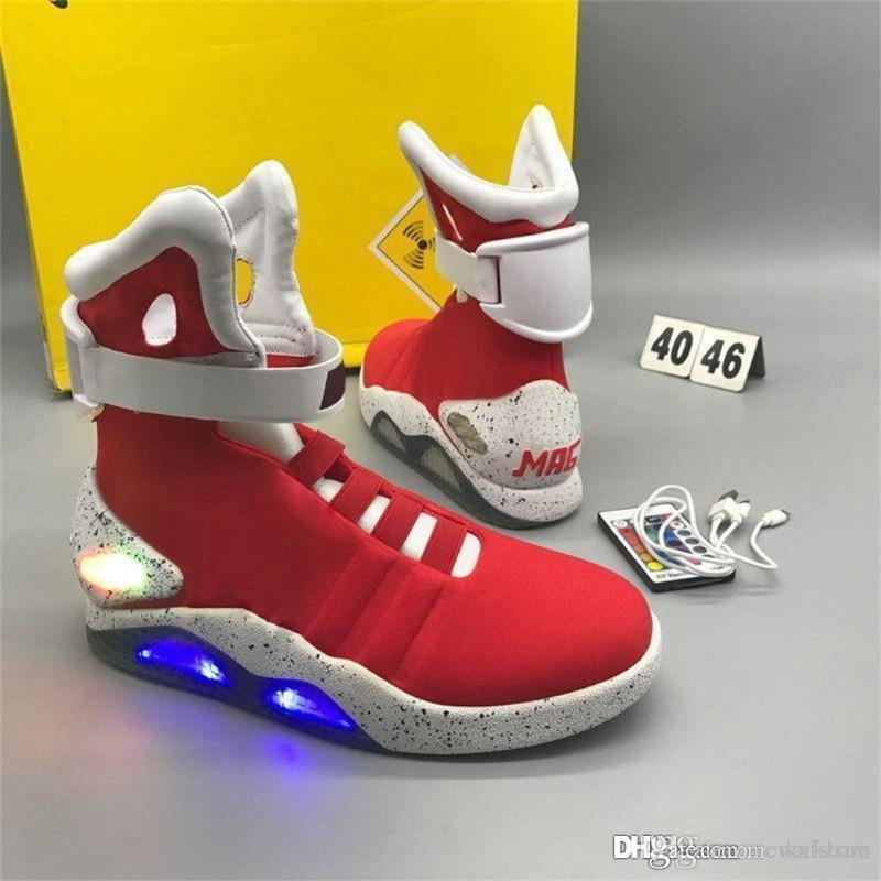 2e9318a6b4ab Air Mag Back To The Future Marty McFly Sneakers LED Shoes Universal Studios  Back To The Future 2 Shoes Air Mags Red Leather Shoes Dress Shoes For Men  From ...