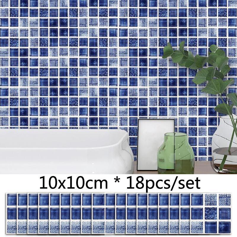 Bleu 3D Mosaïque Tile Autocollant Salle De Bains Toilette Décor À La Taille  Ligne Sticker Cuisine Étanche Autocollant Amovible Amovible Stickers ...