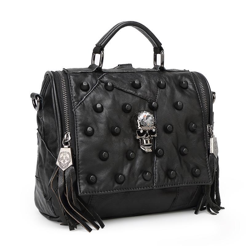 Teridiva Genuine Leather Bag Women Handbag Vintage Patchwork Sheepskin  Shoulder Bags Messenger Bag Rivet Tassel Punk Skull Purse Hobo Handbags  Italian ... a88536b93260b