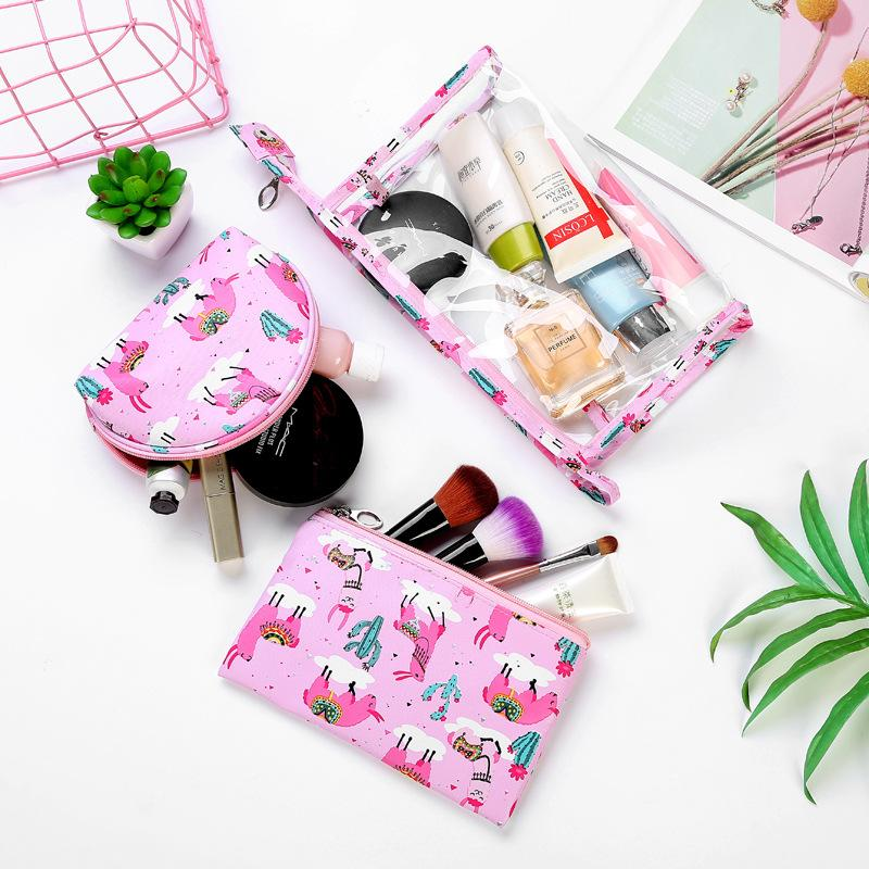 Printed Leather Transparent PVC Cosmetic Bag Three Piece Travel Makeup Bag Hand Portable Wash LMJZ