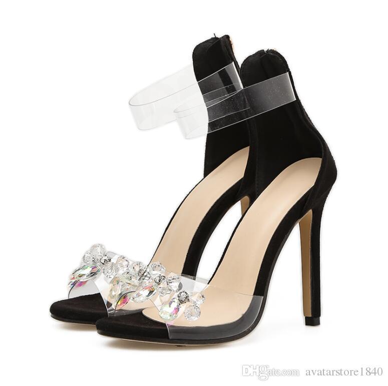4794acab2 Transparent Rhinestone String Sandals High Heel Elegant Shoes PVC Woman Dress  Sandals Female Crystal Wedding Shoes Platform Shoes Prom Shoes From ...