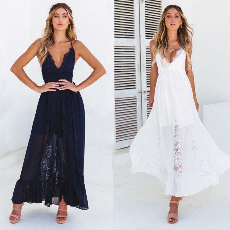 a22645b087a2 Women Summer Boho Lace Long Maxi Dress Evening Party Beach Dress Sundress V  Neck Lace Summer Sleeveless Backless Elegant Dresses Inexpensive Cocktail  ...
