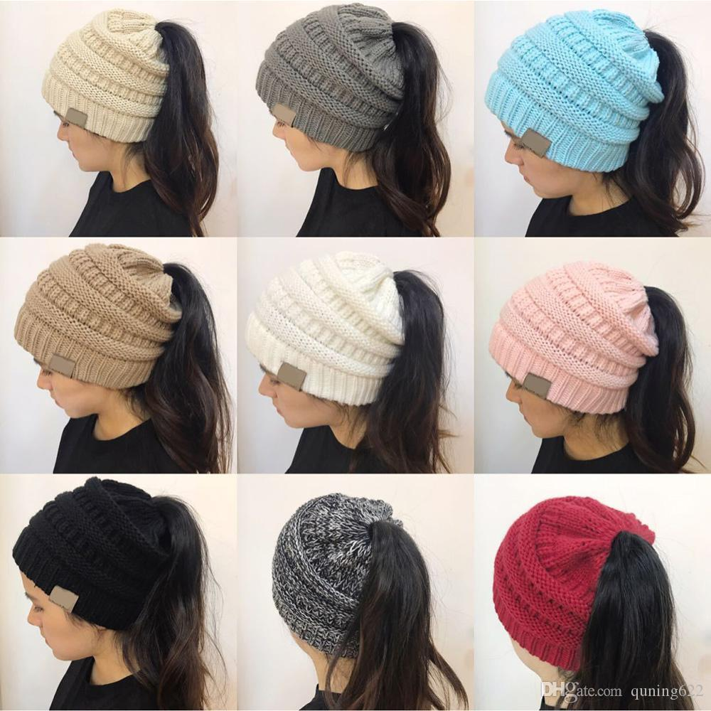 c6e56078d65 Winter Women Hat Ladies Girl Stretch Knit Hat With Tag Messy Bun ...