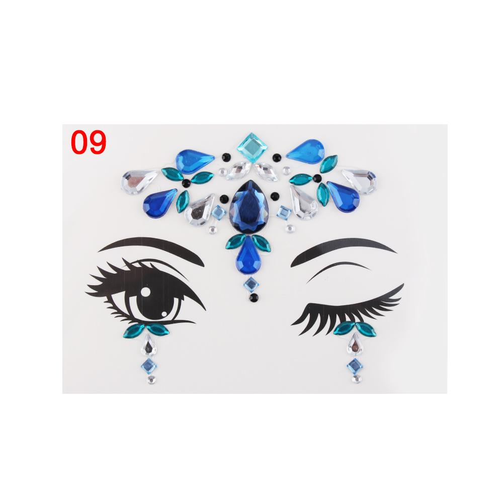 Face Jewelry Festival Party Stage Makeup Eyes Gems Rhinestone Flash Temporary Tattoos Body Art Stickers Make up Beauty Tool